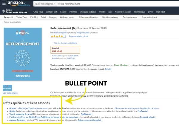 bullet point - rédiger fiche produit amazon